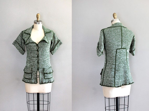 1970s cardigan / 70s sweater / Greenest of Greens