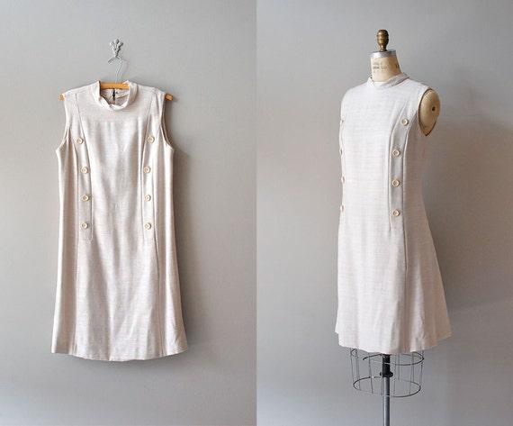 1960s dress / linen shift dress / 60s scooter dress / Tightrope dress