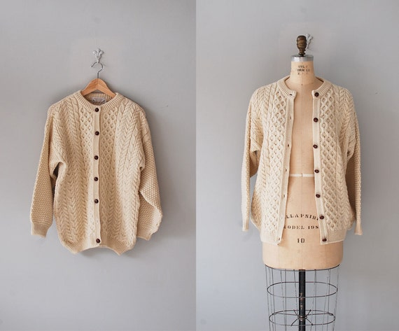 cable knit cardigan / Scottish wool sweater / Highland cardigan