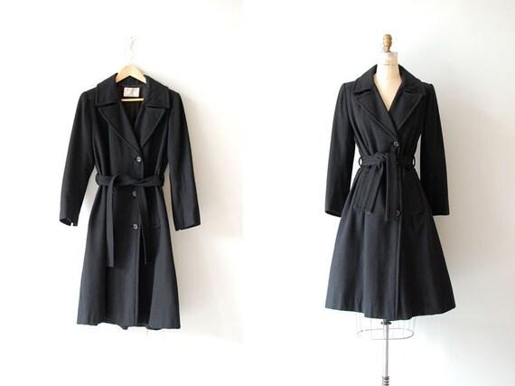 1950s Nina Ricci coat / 1950s coat / black wool trench / 50s belted coat