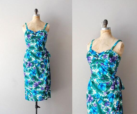 r e s e r v e d...1950s dress / 50s hawaiian sarong dress / Blue Hawaii dress