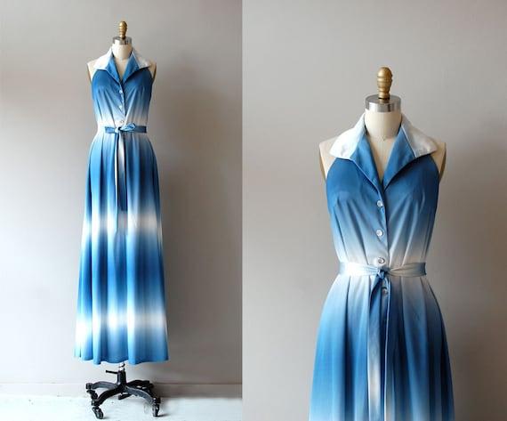 maxi dress / 70s long dress / Ombre Sky dress