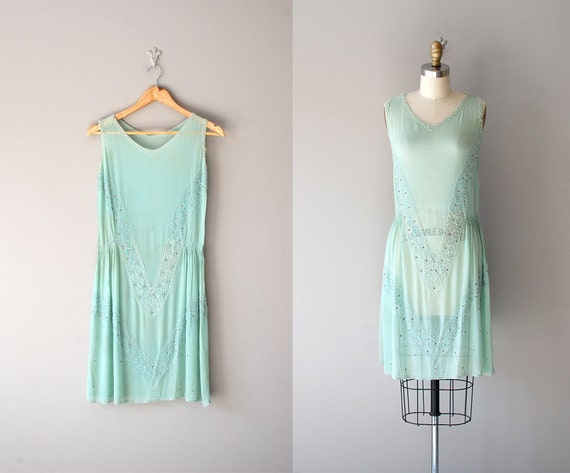 1920s dress / silk beaded 20s dress / Creme de Menthe