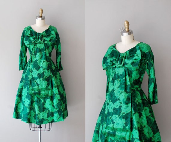 1950s dress / floral print 50s dress / silk dress / Green Zinnia