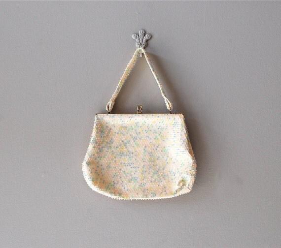 60s handbag / beaded purse / Confetti Bead bag