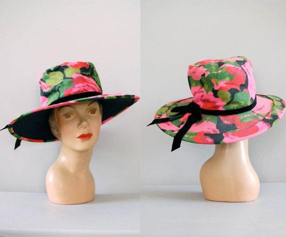 60s hat / wide brim floral hat / Garden Party hat