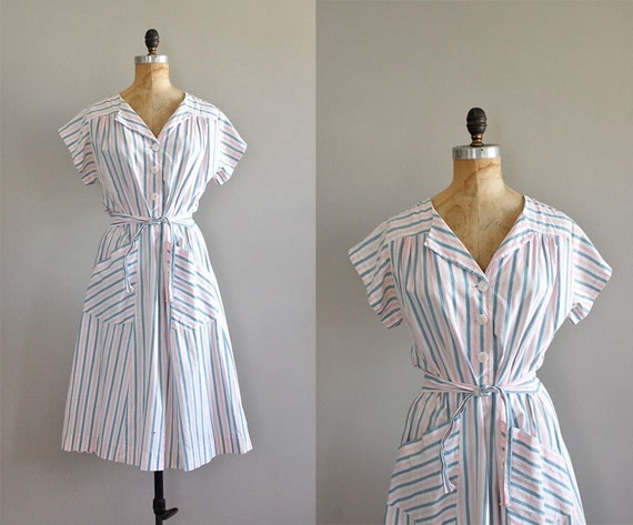 1940s dress / 40s dress / Bedsheet Stripes dress