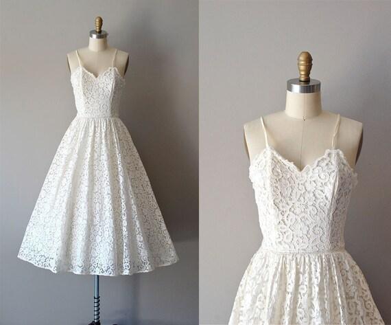 50s lace wedding dress / 1950s wedding dress / Calla Lace dress