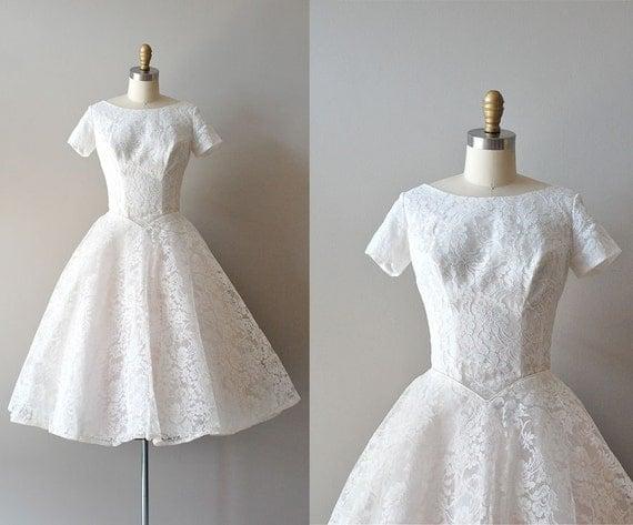50s lace wedding dress / 1950s wedding dress / You Send Me dress