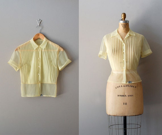 1950s blouse / sheer 50s blouse / Lemon Chiffon