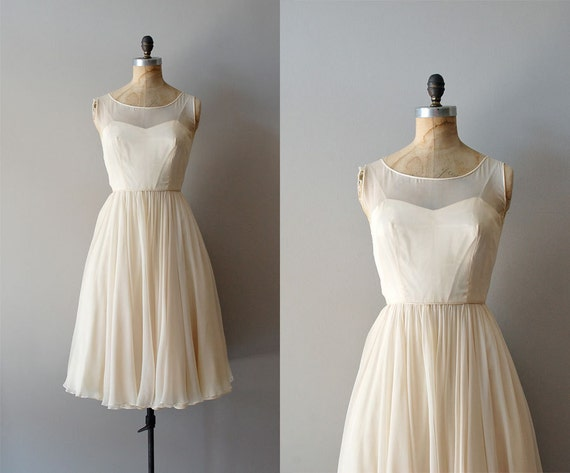1950s dress / cream chiffon dress / Vanilla Sky dress