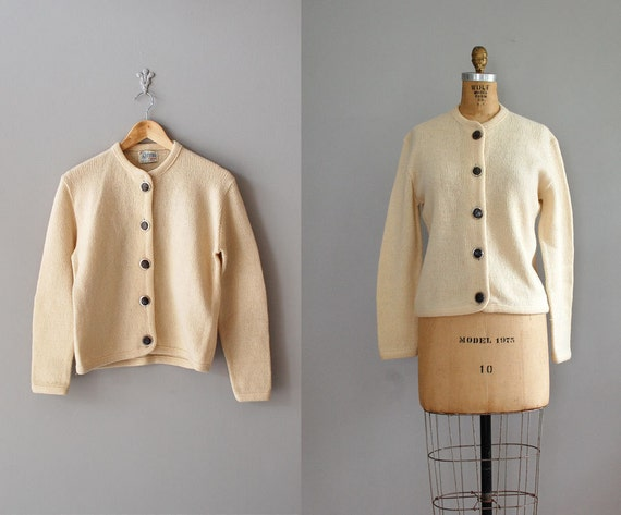 1950s cardigan / 50s sweater / cream wool cardigan / Devon Cardi