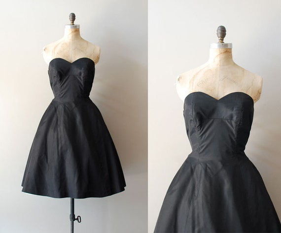 1950s dress / 50s black dress / strapless / La Nuit dress
