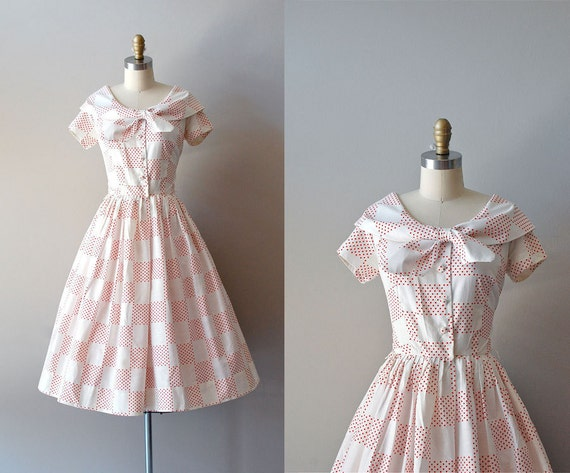 1950s dress / polka dot 50s dress / Dot Arrangement