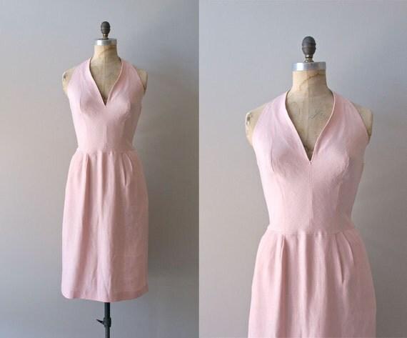 r e s e r v e d...1950s dress / 50s halter dress / linen / One Carnation dress