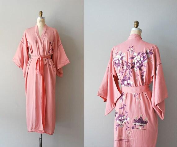 1920s silk kimono robe / 20s lingerie / Katsura kimono
