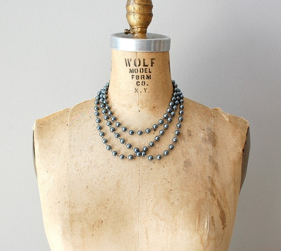 1960s necklace / gray beaded necklace / long necklace