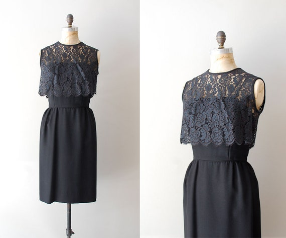 1950s dress / 50s lace dress / Through the Night