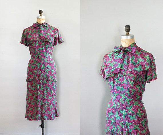 1930s dress / silk 30s dress / Pointillism Butterfly dress