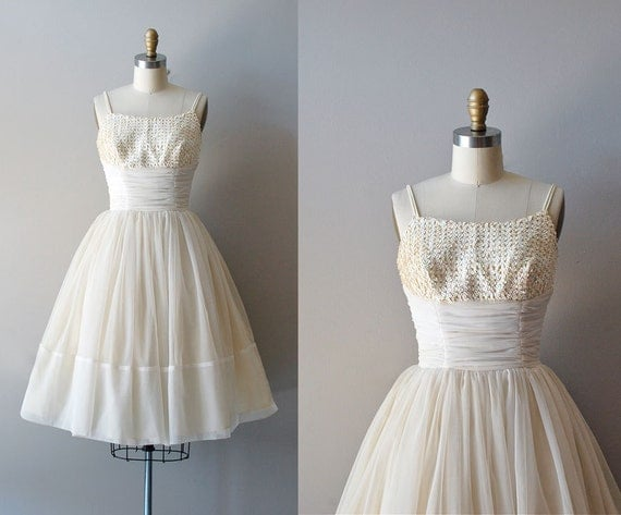 50s wedding dress / chiffon 1950s wedding dress / Among Angels