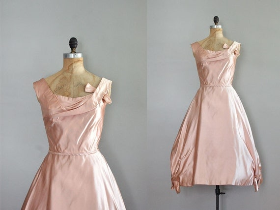 vintage 1950s dress / Ceil Chapman / Blush Silk dress
