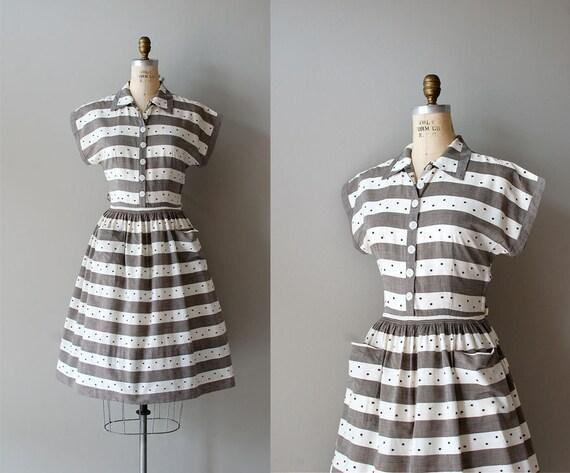 1950s dress / vintage 50s dress / day dress / Dotty Stripe dress