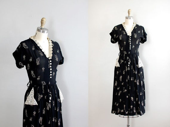 vintage 1940s dress / 40s dress / Chiaroscuro
