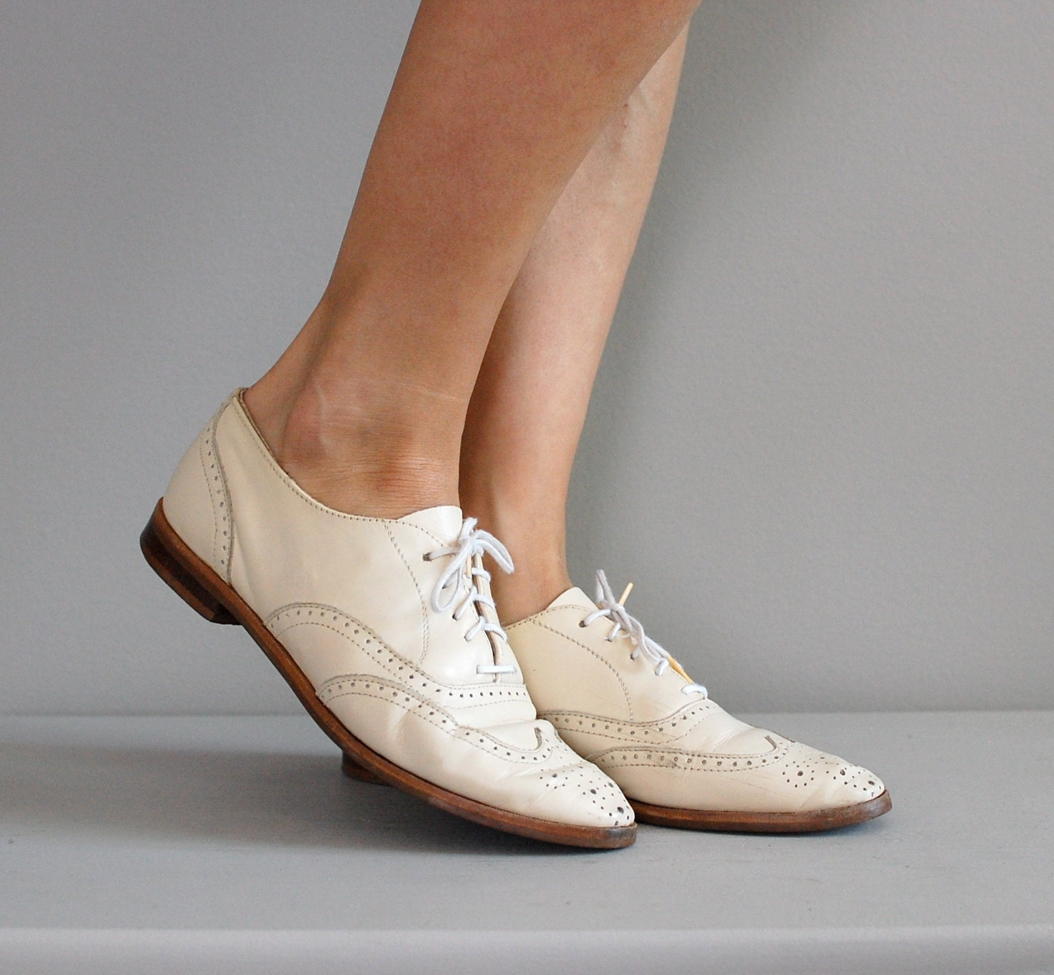 Cream Oxford Heels! - Cream Oxford Style Heels by N.Y.L.A! *Lightly Pre-loved *Size *Cork Heel *Great for all seasons!
