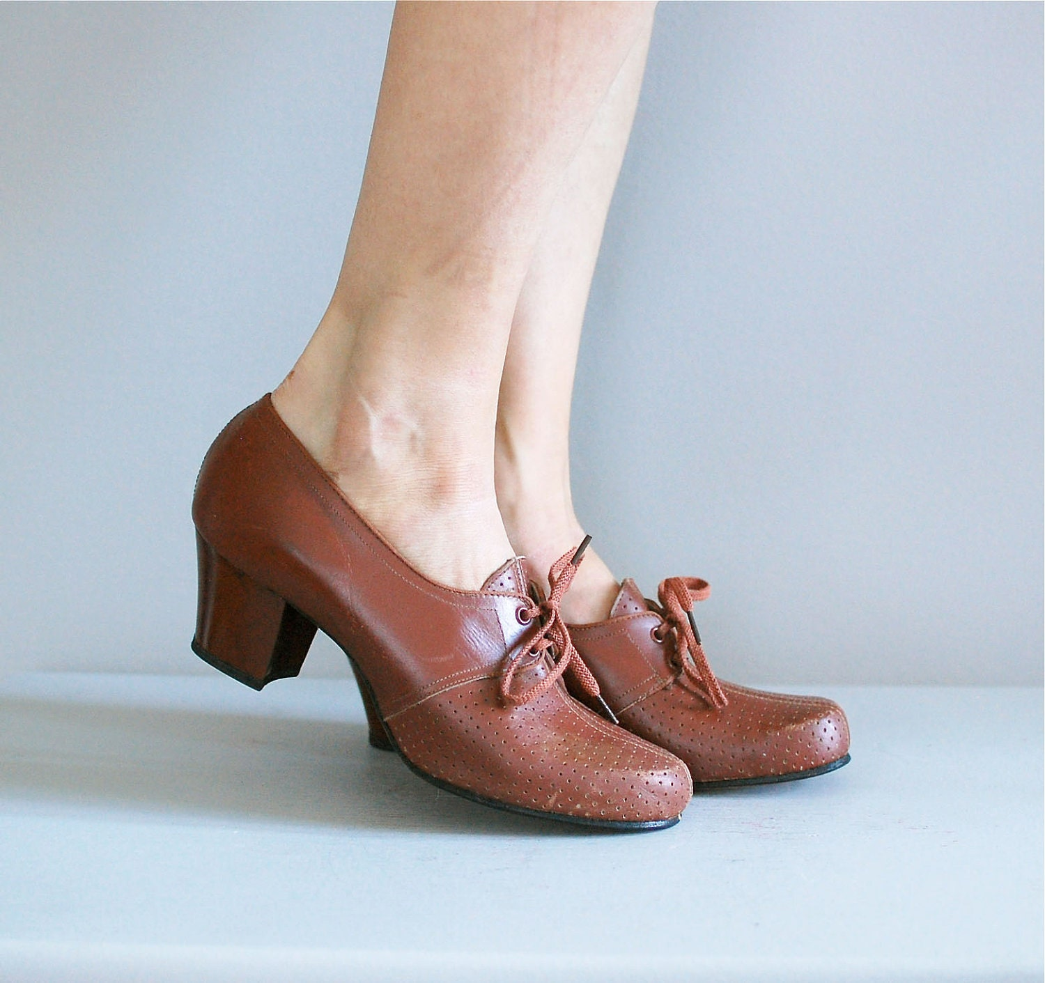 1930s Shoes 30s Oxfords Heels Perforated Oxford Loafers