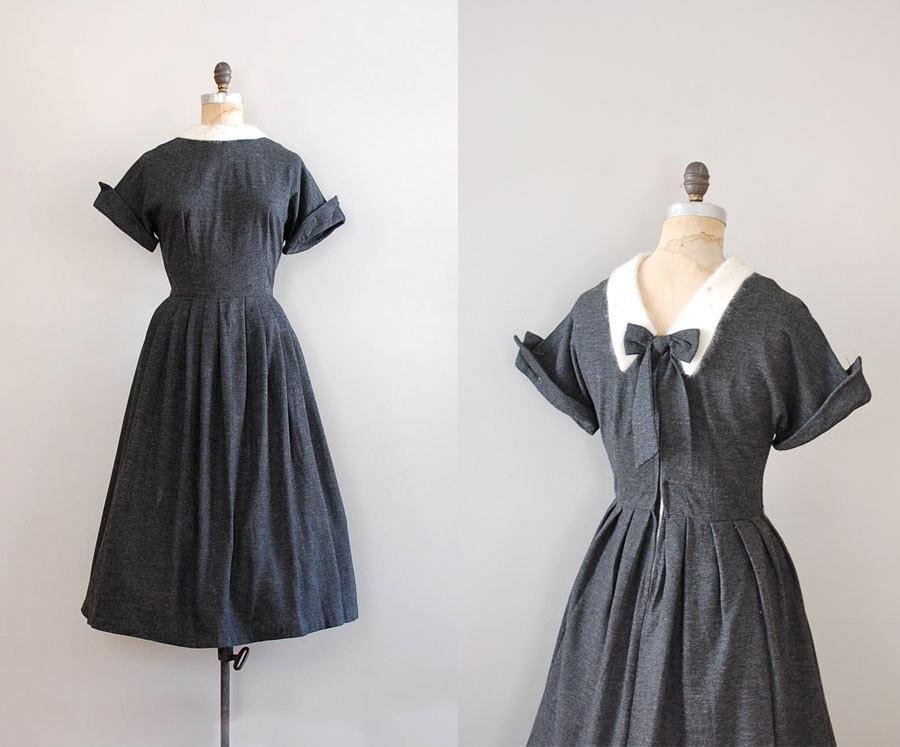 50s Dress Gray Wool Dress Amor Fati Dress