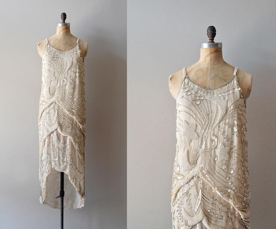 1920s dress beaded 20s dress diaphanous dress