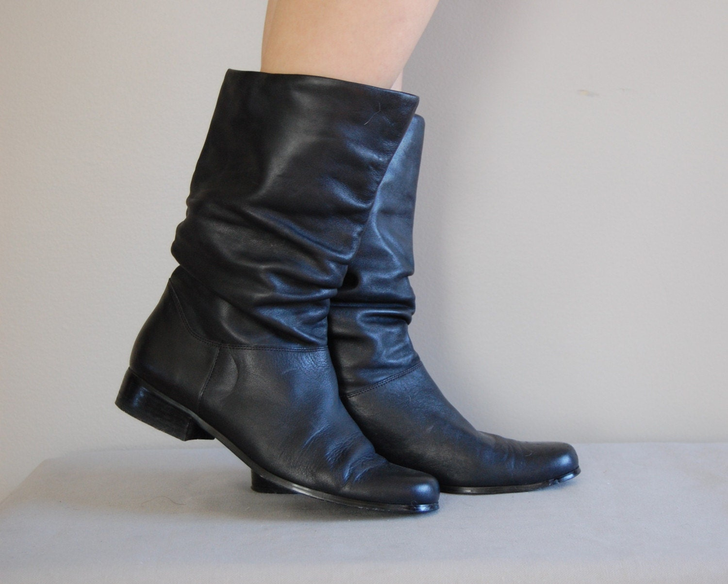 vintage slouchy black mid calf leather boots