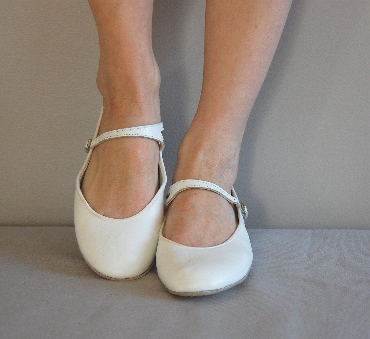 vintage White MARY JANE Flats