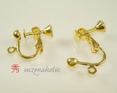 8 pcs Gold plated screw clip earring