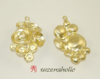 Gold Plated round Connector Matte (2 Pcs)