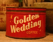 CANDLE Unique Hand-Poured Soy Wax Candle in Vintage Golden WEDDING Coffee Can GREAT 50th Anniversary Bride Groom Gift Antique CollectableTin