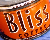 CANDLE Unique Hand-Poured Soy Wax Candle In Old Orange Vintage BLISS Coffee Tin Can Great Wedding BRIDAL Bride Gift Eco-Friendly