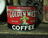 GOLDEN WEST Rare Coffee Hand Poured Soy Wax Vintage Tin Can Candle Cowgirl Rodeo Cowboy Fans