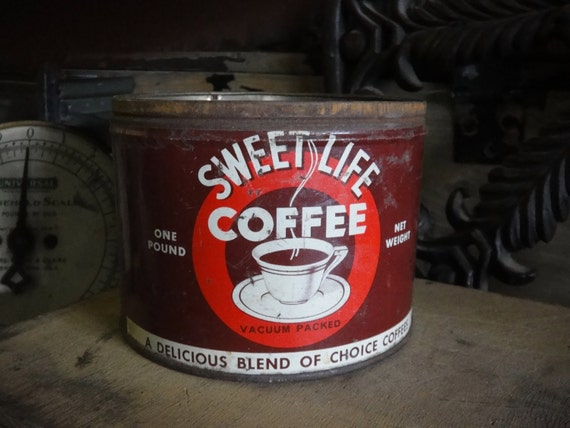 SWEET LIFE Coffee Rare Vintage Tin Hand Poured Soy Wax Candle Perfect for Your Pal, Those who enjoy Life and Nice, Sweet People