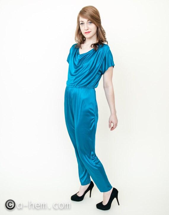 Turquoise Jewel Jumpsuit / 70s - 80s / Onesie
