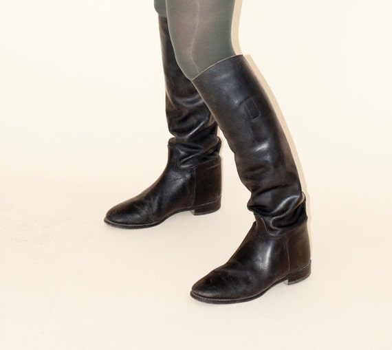 Black Vintage Oxford Riding Boots / size 9 / Made in England