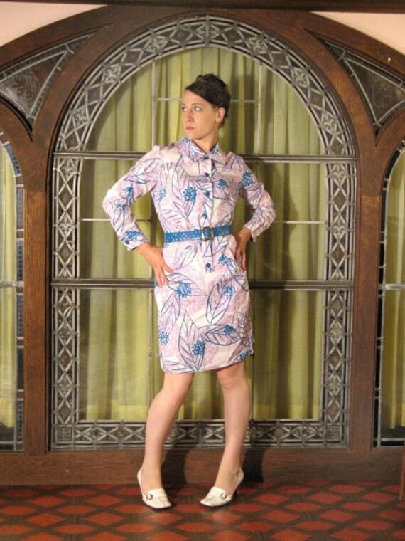 NOS 60s Shift  / Leafy Pastel Shirt Dress