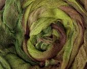 Hand Dyed  Cotton Gauze/Scrim perfect for nuno felting - RIVER GUM