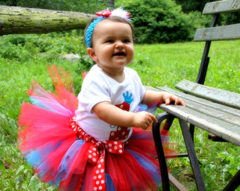 Newborn thru 24 months POLKA DOT FUN Red and Turquoise Tutu - Perfect for Military Homecomings, Birthdays, Dr. Seuss, 4th of July