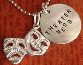 Theatre Gifts, Drama Gifts, Musical Theatre Geek, Comedy Tragedy Necklace or Keyring with Hand stamped Disc - Glee - Gleek - Drama Club