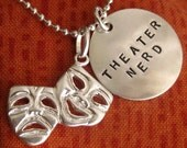 Theatre Gifts, Theater Nerd, Drama Gifts, Musical Theatre Geek, Comedy Tragedy Sterling Silver Necklace or Keyring - Glee Gleek - Drama Club