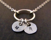 Eternity Necklace with Hand stamped Mini Monogram Charms - Sterling Silver - The Perfect Gift for Mom