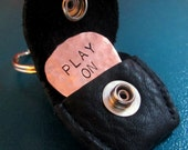 Hand Stamped Personalized COPPER GUITAR PICK Plectrum  - with Handmade Black Leather Pick Case Keyring Keychain
