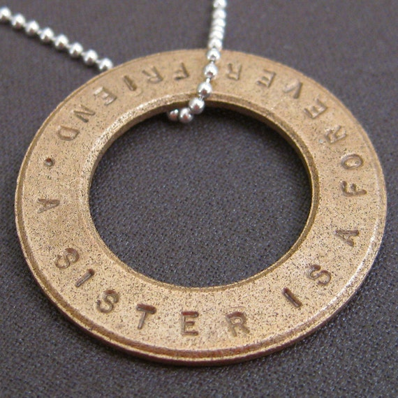 """8th Anniversary Gift - Eighth Anniversary Gift - Bronze Necklace or Keyring - Bronze Eternity Circle - 1.25"""""""