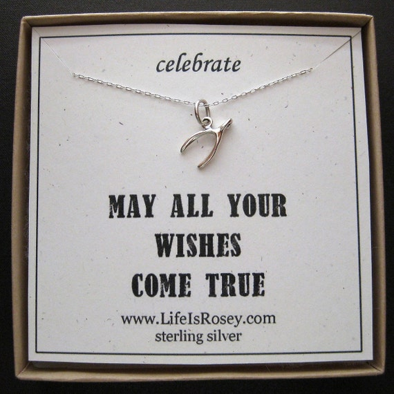 Sterling Silver WISHBONE Charm Necklace - QUOTE CARD - Wish - A Life is Rosey Original